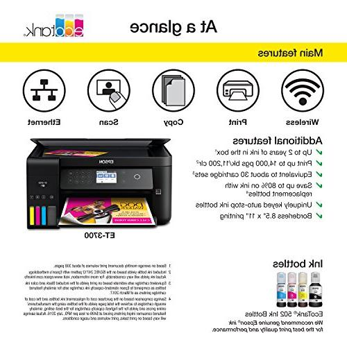 Epson Expression ET-3700 Wireless All-in-One Printer with Scanner, and